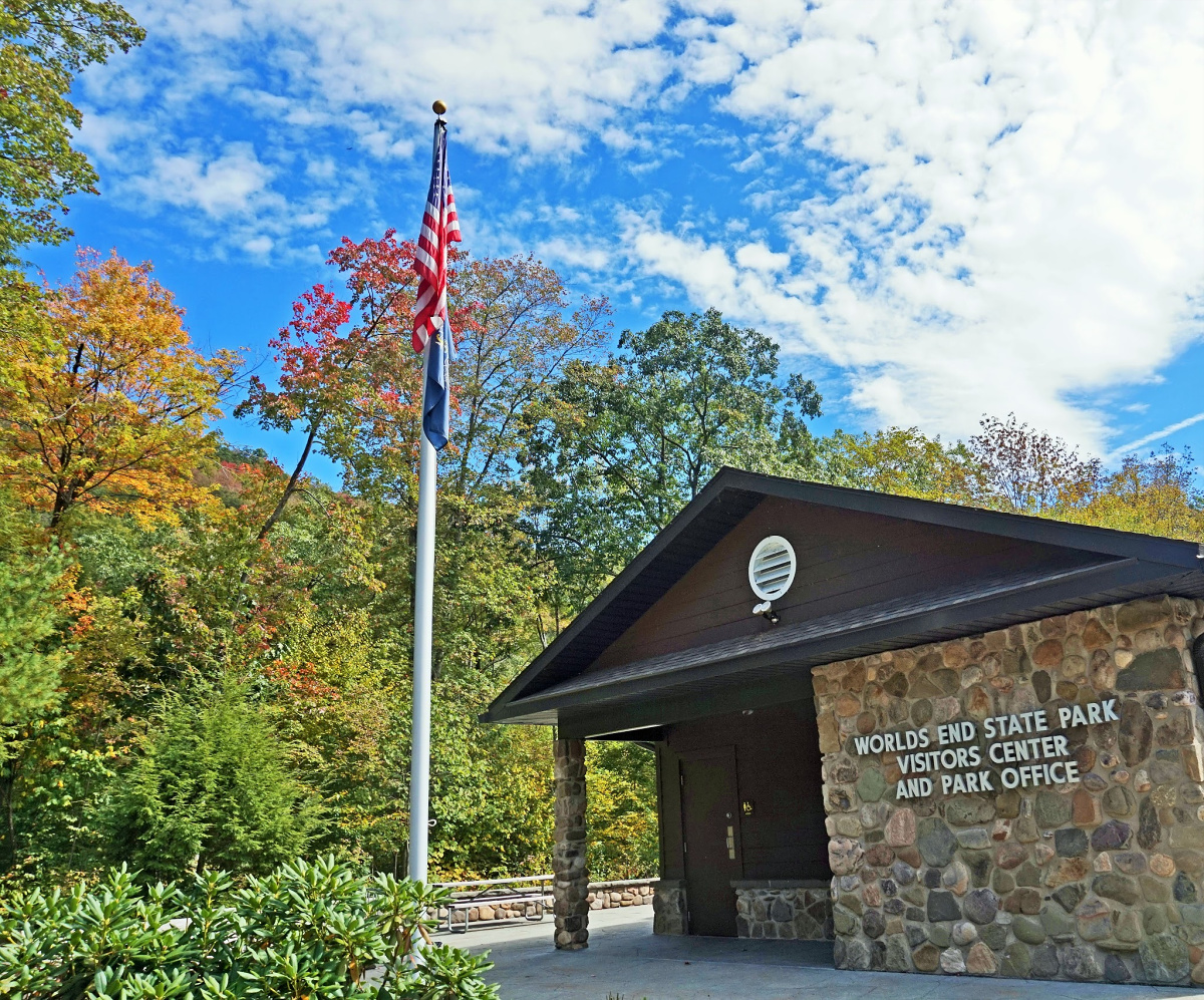 Visitors Center at Worlds End State Park.