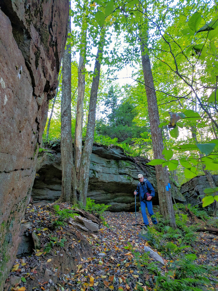 Huge boulders create unique hiking experience in Worlds End State Park.