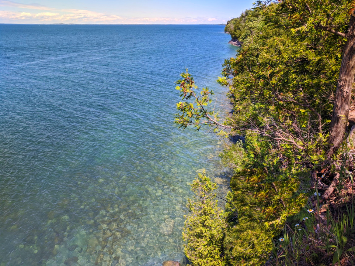 Crystal clear water of Lake Ontario at Robert G. Wehle State Park, NY.