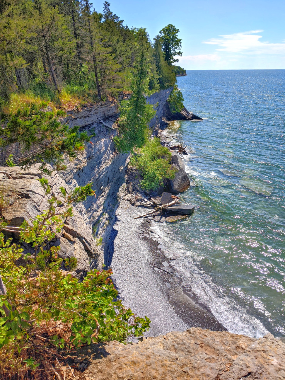 Robert G. Wehle State Park. High cliffs and the beach.