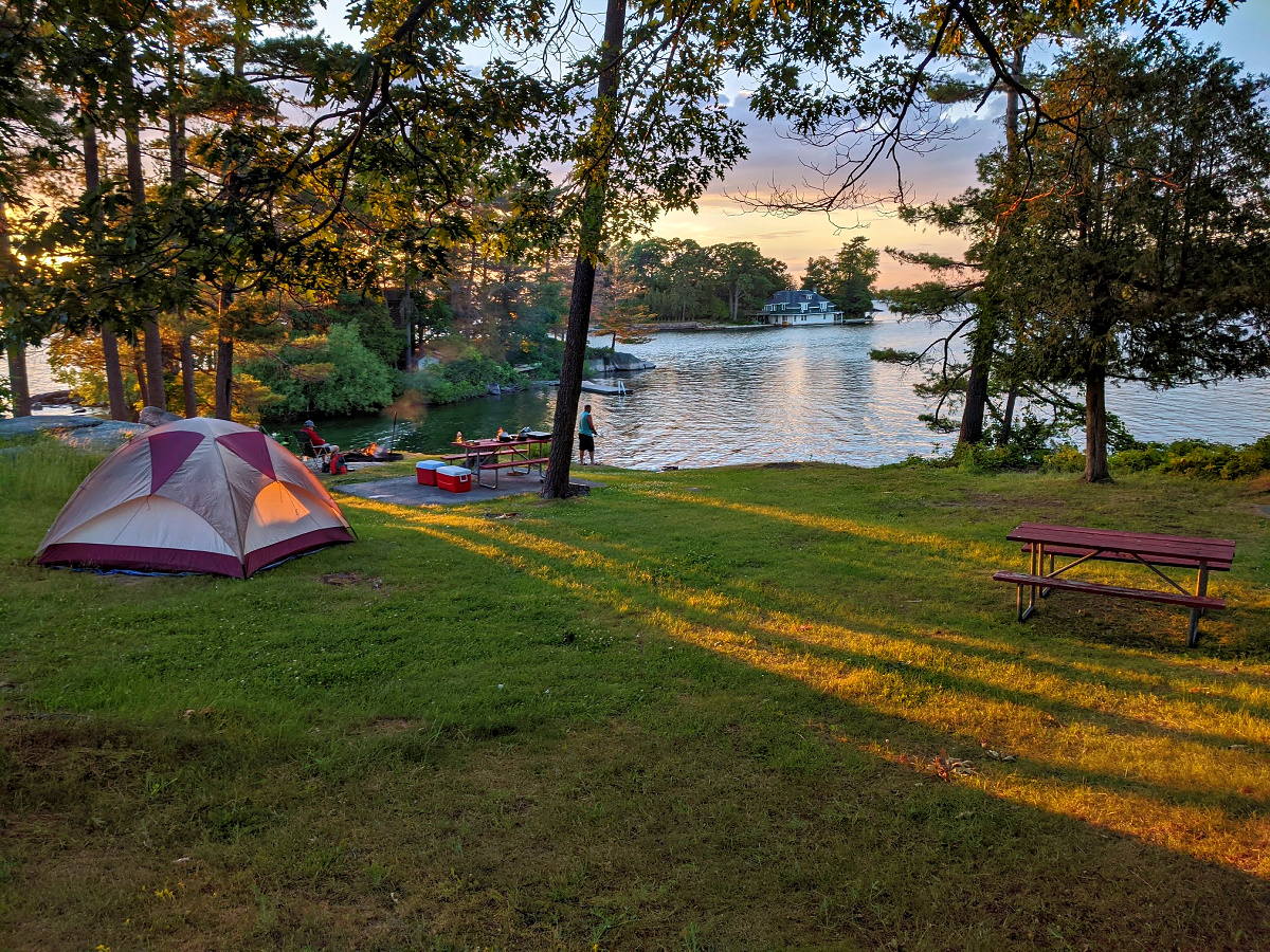 Krign Point State Park. 1000 Islands, NY. Tents and sunset.