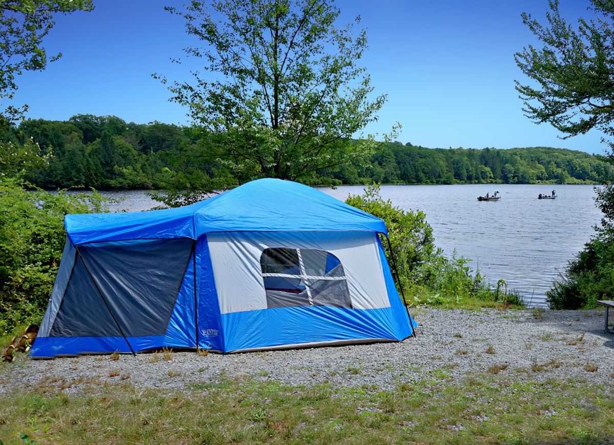 Things to do in Promised Land State Park. Blue tent on the lake.