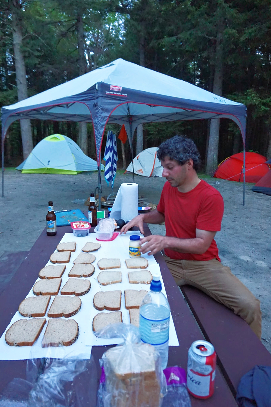 First time camping tips. Sandwiches in making.