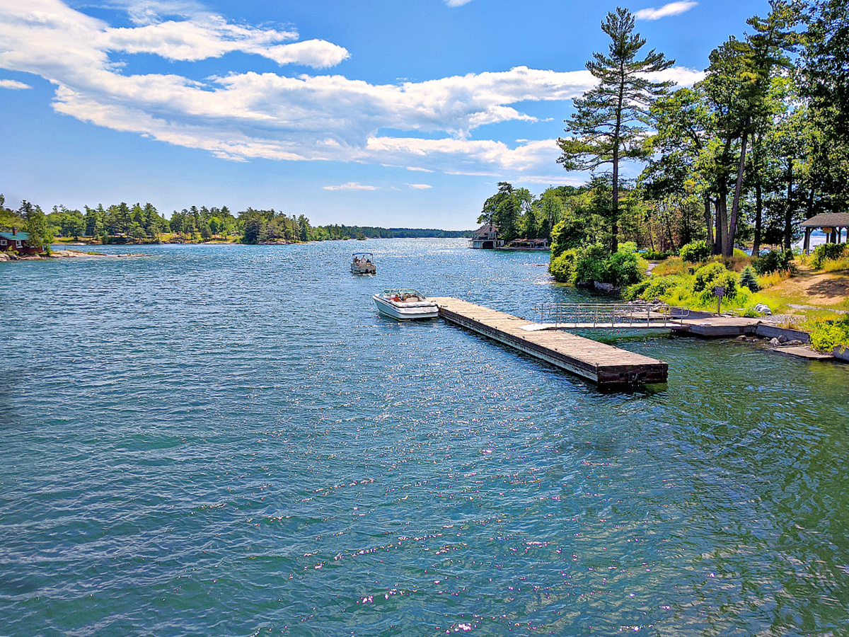 1000 Islands.View with a boat and dock.