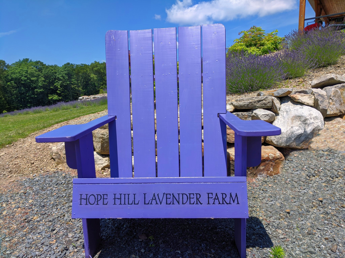 A huge purple chair awaits visitors to Hope Hill Lavender Farm.