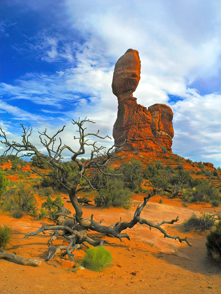 Balanced Rock, one of the most iconic features in Arches National Park, stands a staggering 128 feet tall.