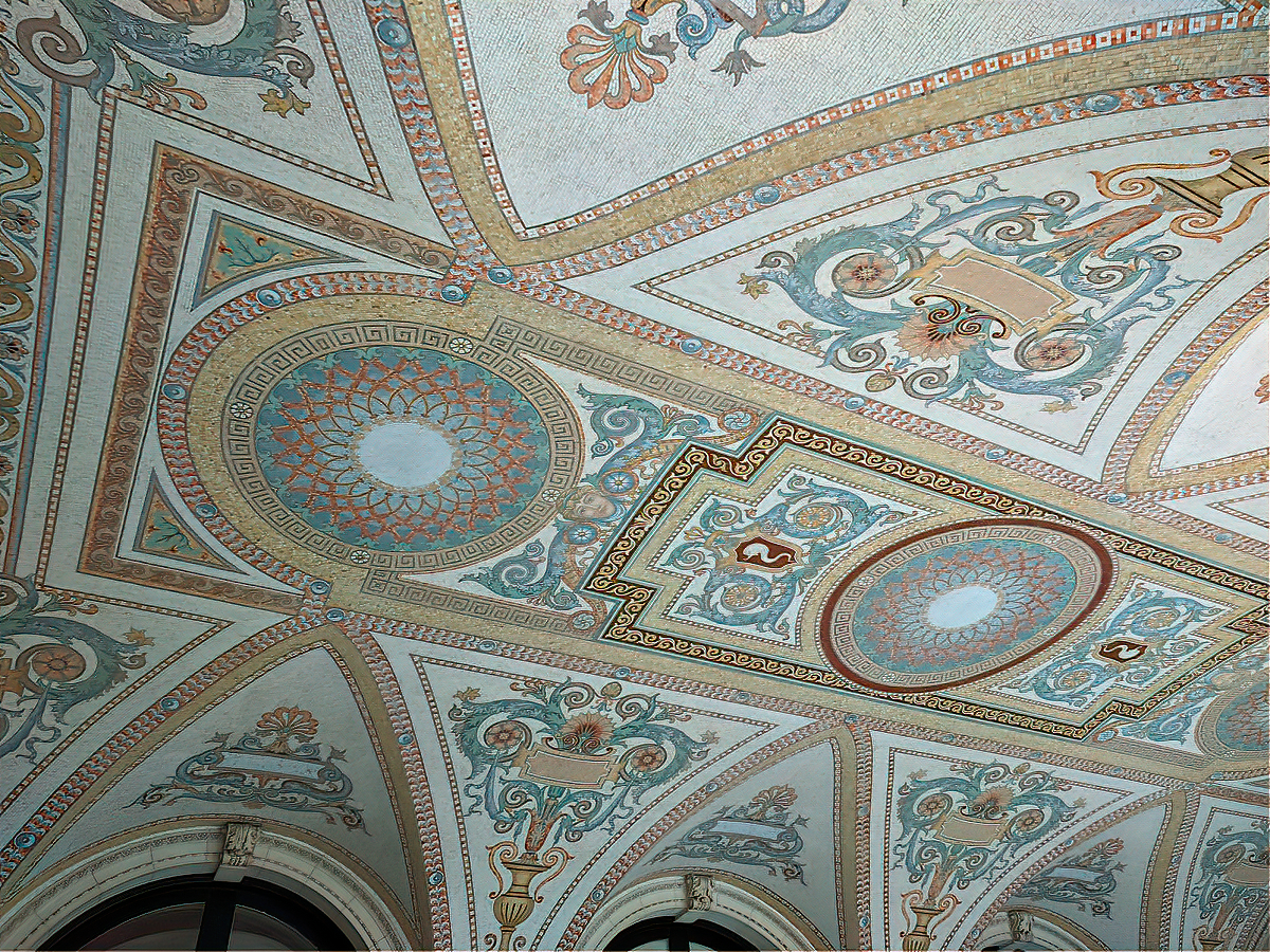 Tile ceiling at the Breakers mansion in Newport, Rhode Island.