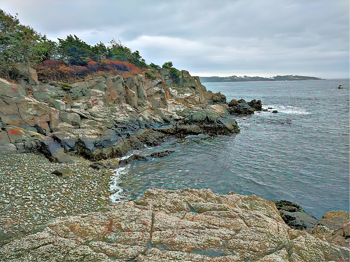Fort Wetherill rocky shore. Rhode Island.