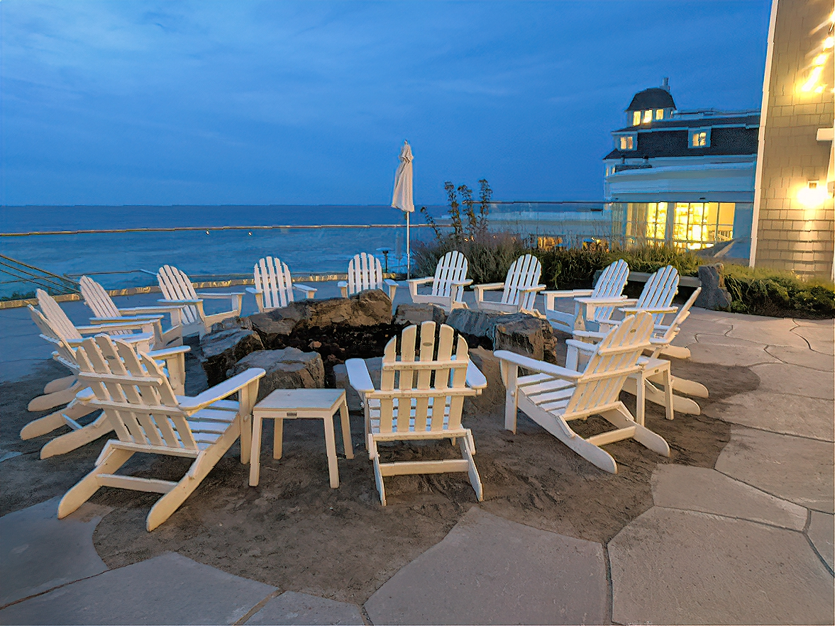 Fireplaces and heater help you enjoy cool night at Cliff House Maine.