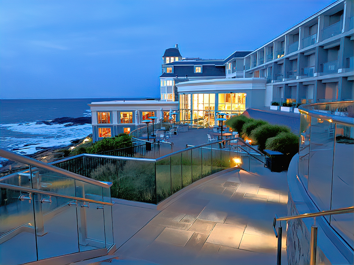 Cliff House Maine at night.