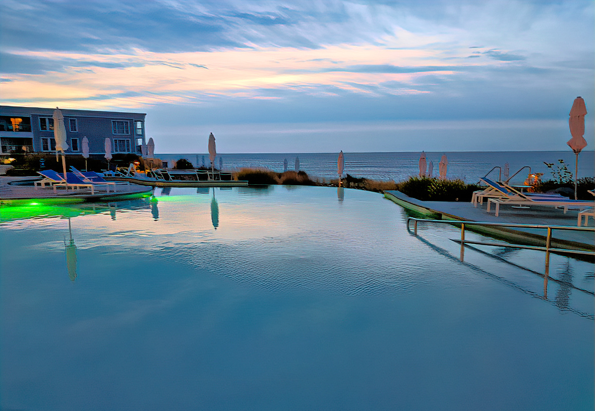 One of two outdoor pools at Cliff House Maine.