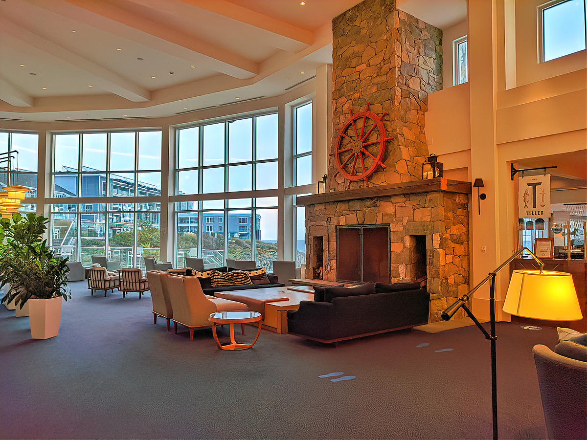 One of many sitting areas at Cliff House Maine.