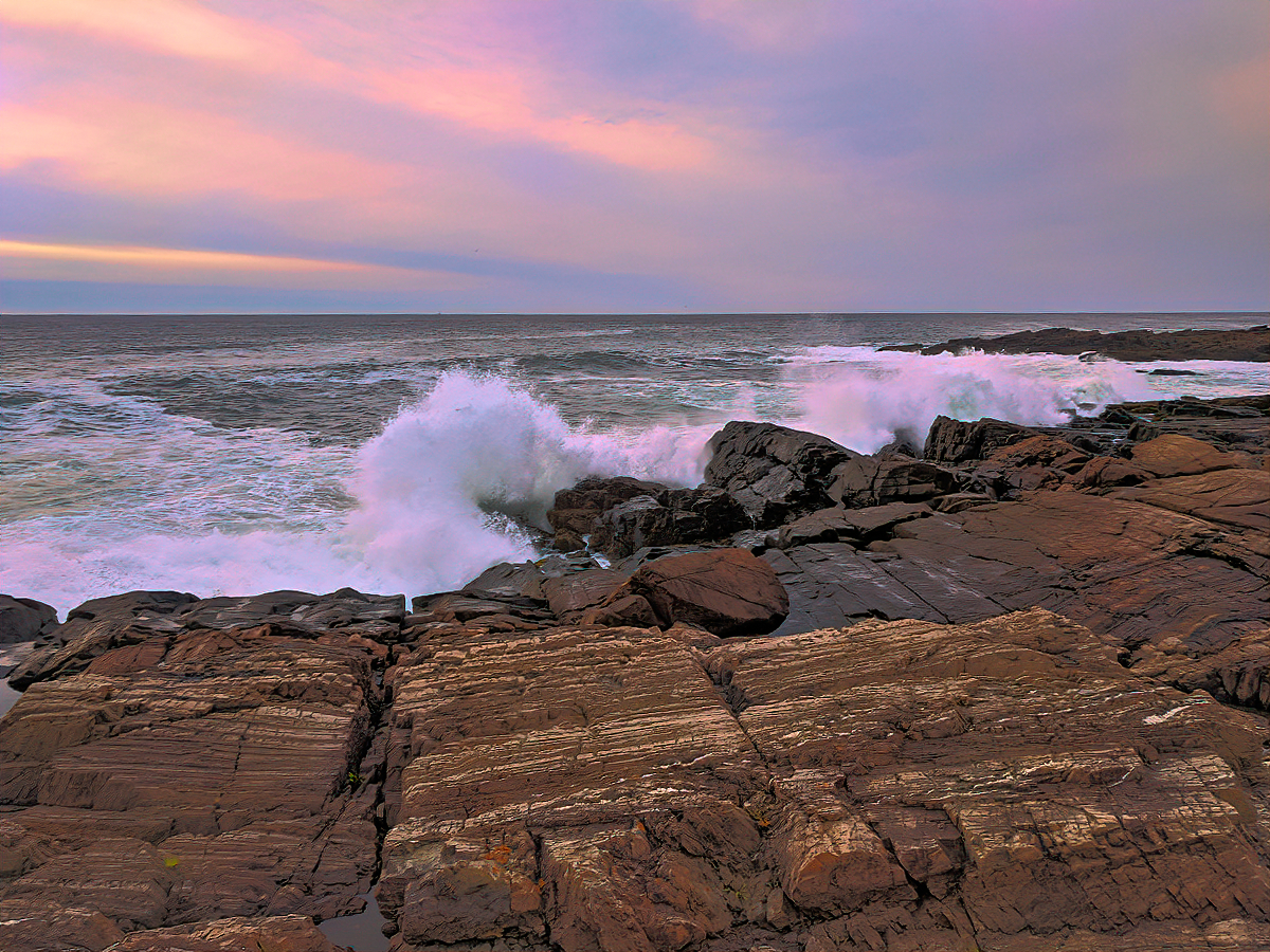 It pays to get up early -a pink sunrise at Cliff House Maine.