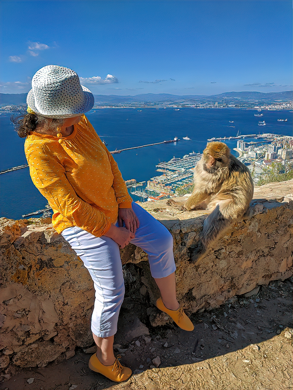 Rock of Gibraltar. Encounter with a monkey.