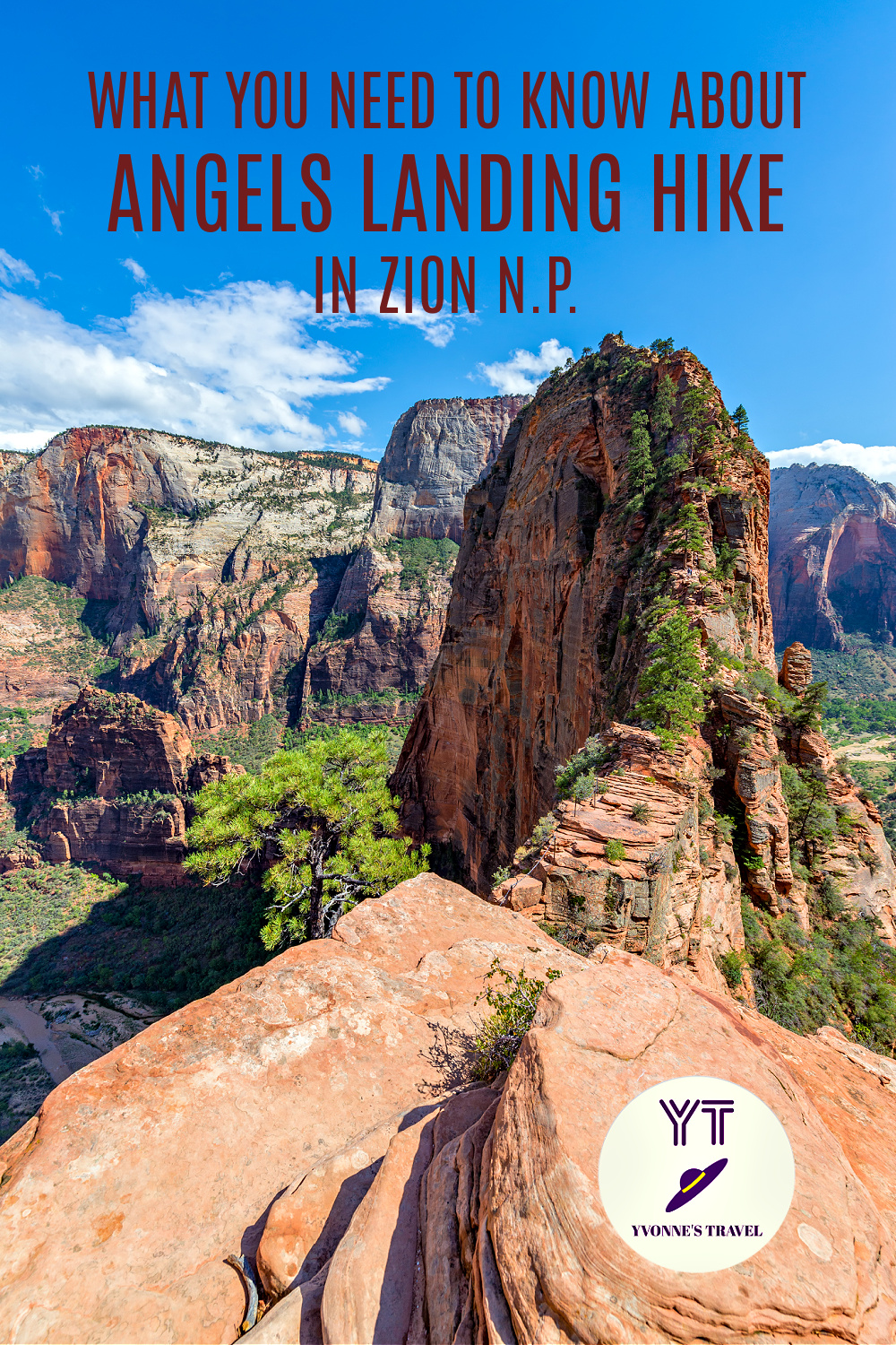 Vertical view of Angles Landing hike. This famous hike offers an incredible experience, if you have what it takes to face the challenge. Here is all you need to know. #angelslandingzion #angelslandinghike #hikinginzionnationalpark #utahhiking