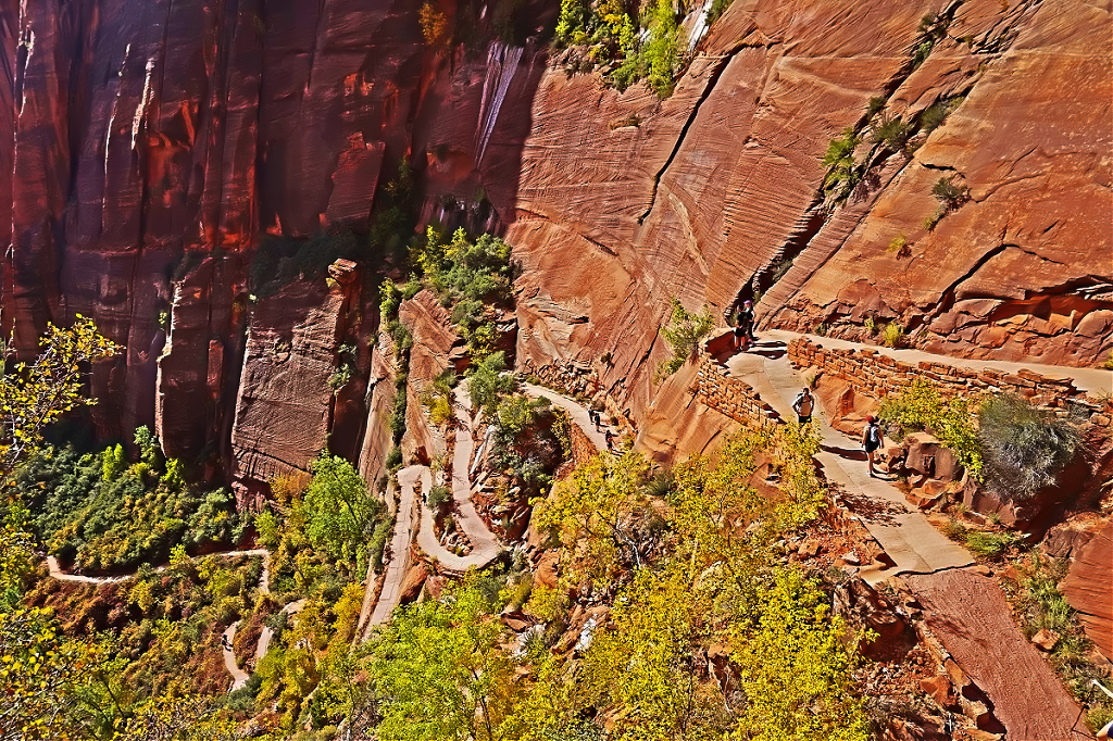 Switchbacks on Angels Landing trail in Zion National Park.