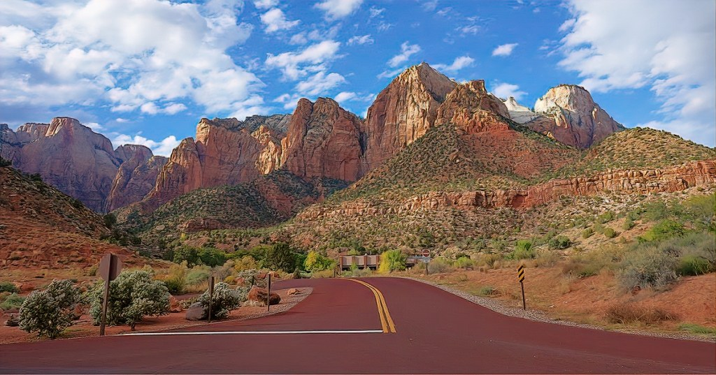 Zion National Park. Mountains and the road.
