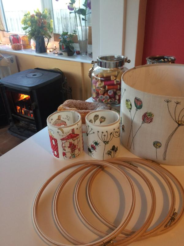 Handmade Lampshades, embroidery hoops, freemotion embroidery