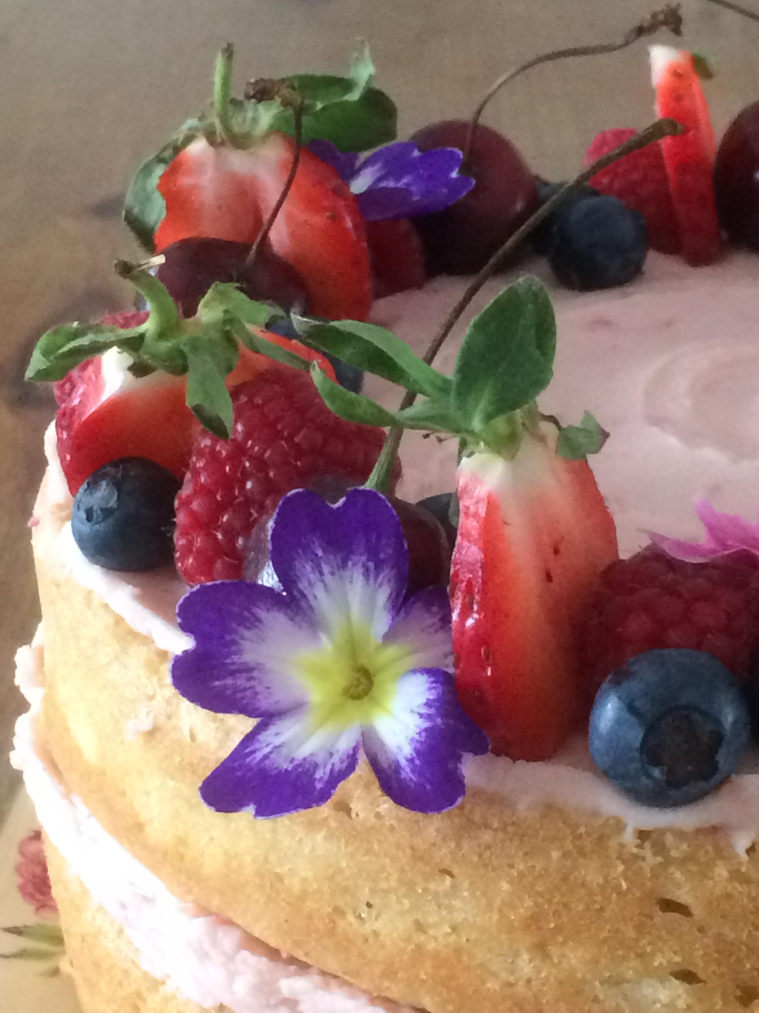 Sewing retreat, boho cakes, Devon, raspberry and whitechocolate cake