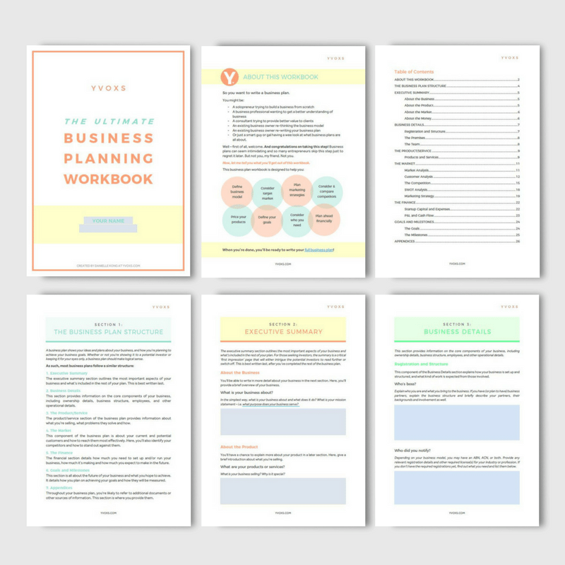 Free 27 page business planning workbook yvoxs for Workbook template indesign