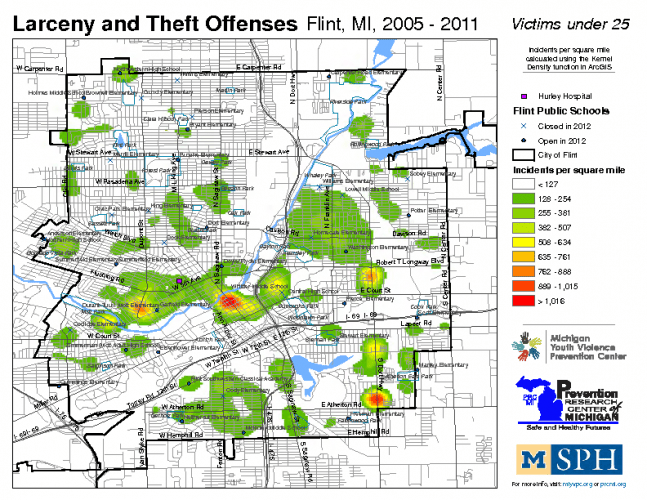 Larceny & Theft Offenses, Victims under 25 (2005-2011)
