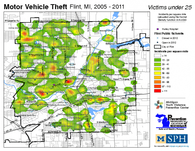 Motor Vehicle Theft, Victims under 25 (2005-2011)