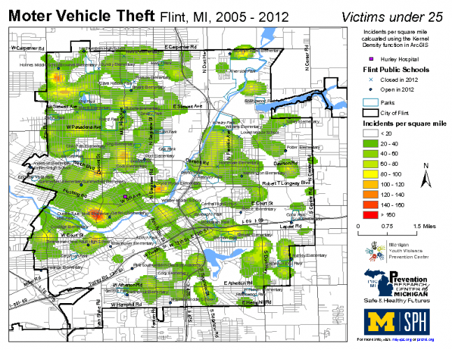 Motor Vehicle Theft, Victims under 25 (2005-2012)