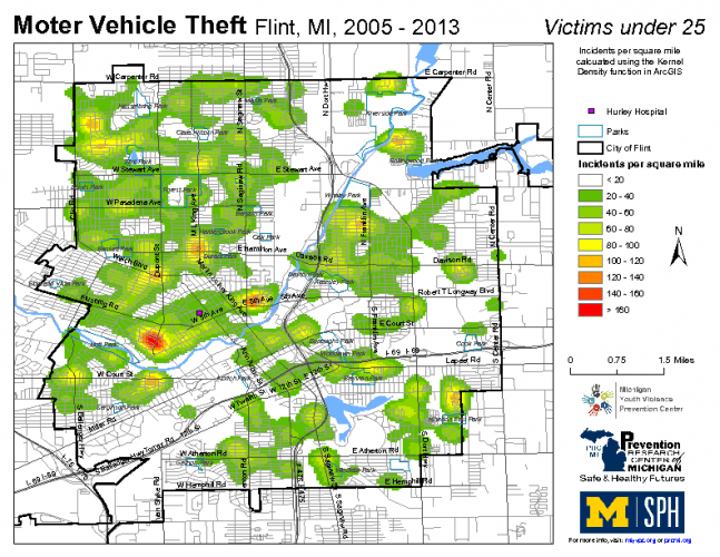 Motor Vehicle Theft, Victims under 25 (2005-2013)