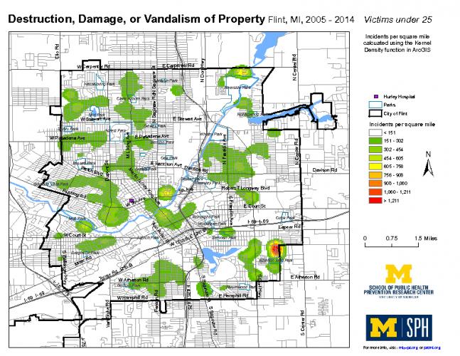 Destruction, Damage, or Vandalism of Property; Victims under 25 (2005-2014)
