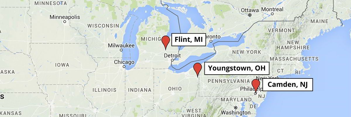 A map of the MI-YVPC core project cities for 2015-2020. Flint, MI, Youngstown, OH, and Camden, NJ.