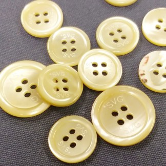 Logo-engraved Beige Pearl Suit Buttons