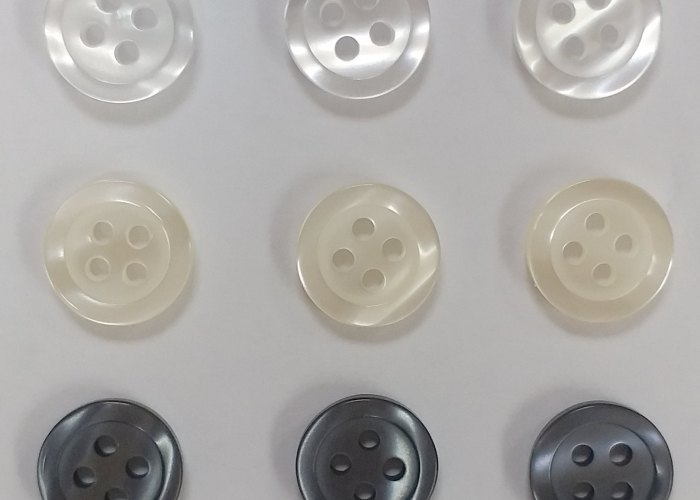 Polyester Shirt Buttons, white, natural, Smoke 18L