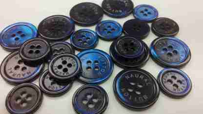 Logo-engraved Medium Blue Dyed Pearl Suit Buttons