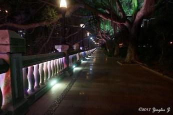 The path along Qi-Jiang River at night