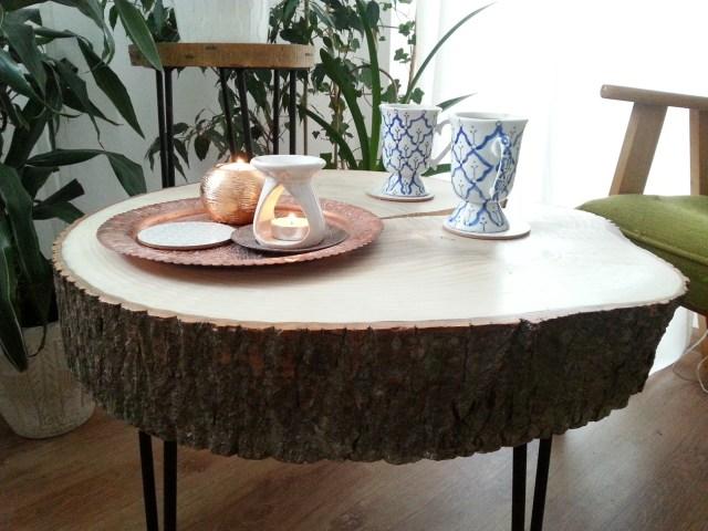 02 diy stolik z plastra drewna na trzech nóżkach hairpin legs podstawka pod kwiatka kawowy nocny pomocnik diy do it yourself jak zrobić
