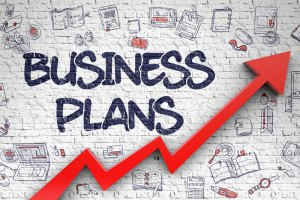 Drawing of upward red arrow and words Business Plans