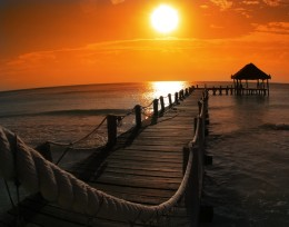 Dock in Mexico at sunset