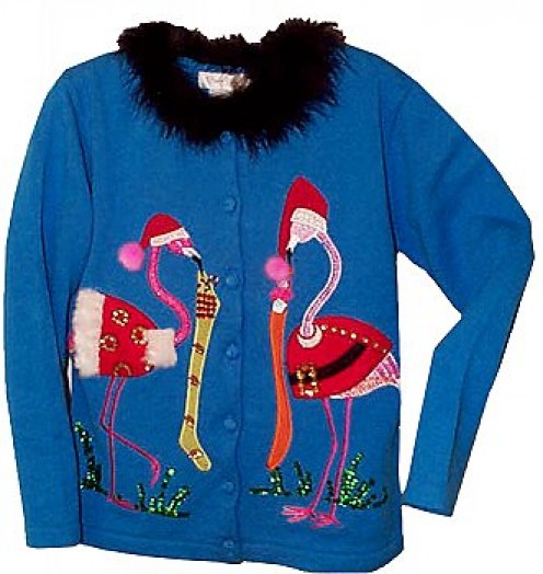 Mystery Flamingo Christmas Sweater