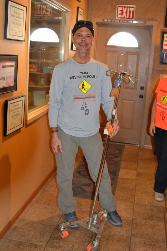 04.16.18 LOS ANGELES MAN WALKING TO BOSTON TO RAISE AWARENESS ABOUT CHILDHOOD CANCER CAMPS IS IN MORONGO BASIN