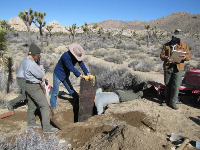 REPLICA OF HISTORIC MARKER PLACED IN JOSHUA TREE NATIONAL PARK