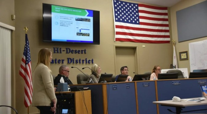 HI-DESERT WATER PUBLIC FORUM UNVEILS PROPOSED RATE INCREASE