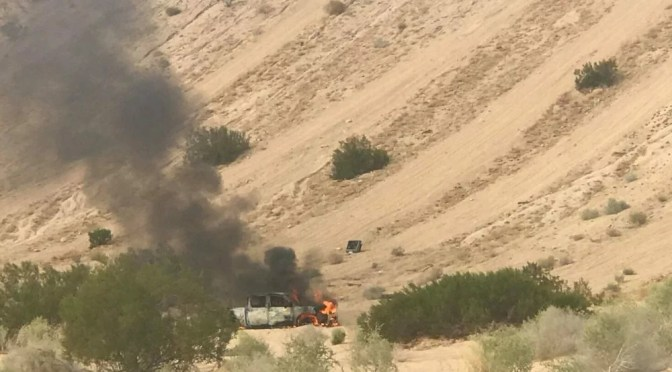 VEHICLE FIRE IN THE SUGAR BOWL OF TWENTYNINE PALMS