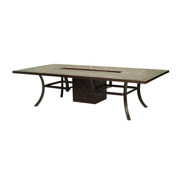 castelle 54 x 108 rectangular classical dining table with firepit