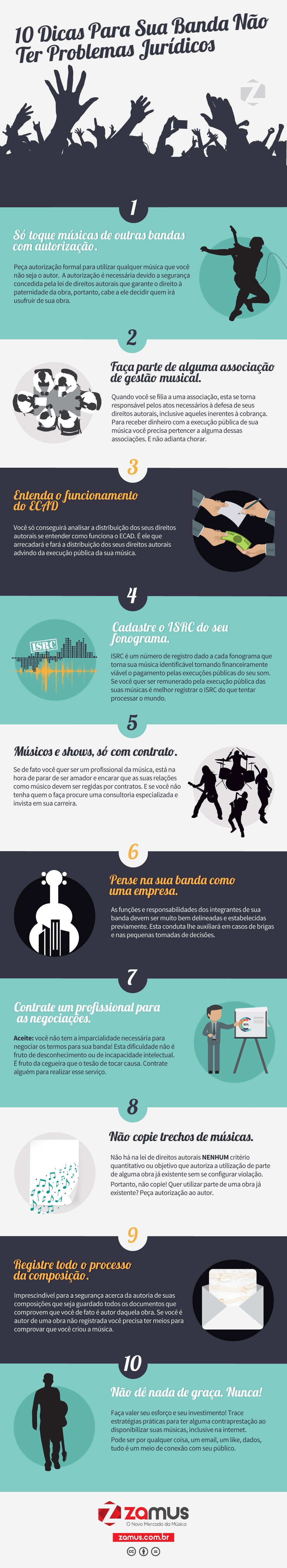 10 Dicas para sua banda não ter problemas jurídicos-Infográfico