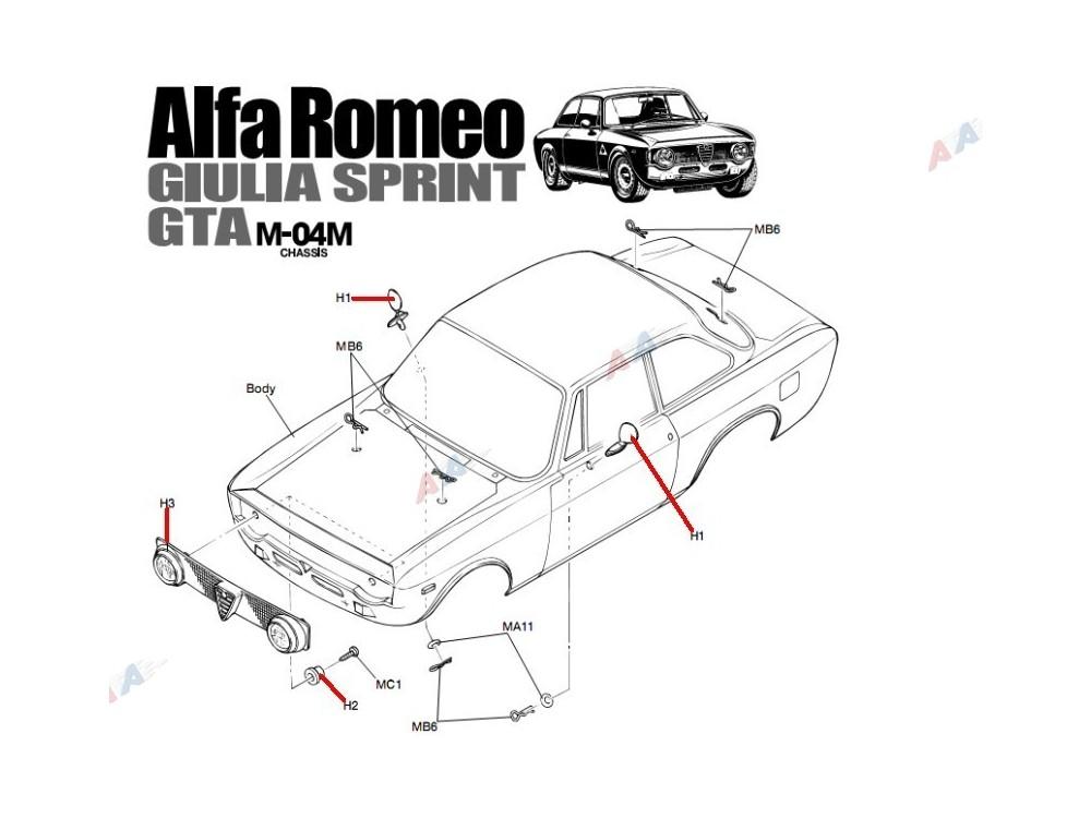 M-02/4 Części H Alfa Romeo Giulia Tamiya 9005512