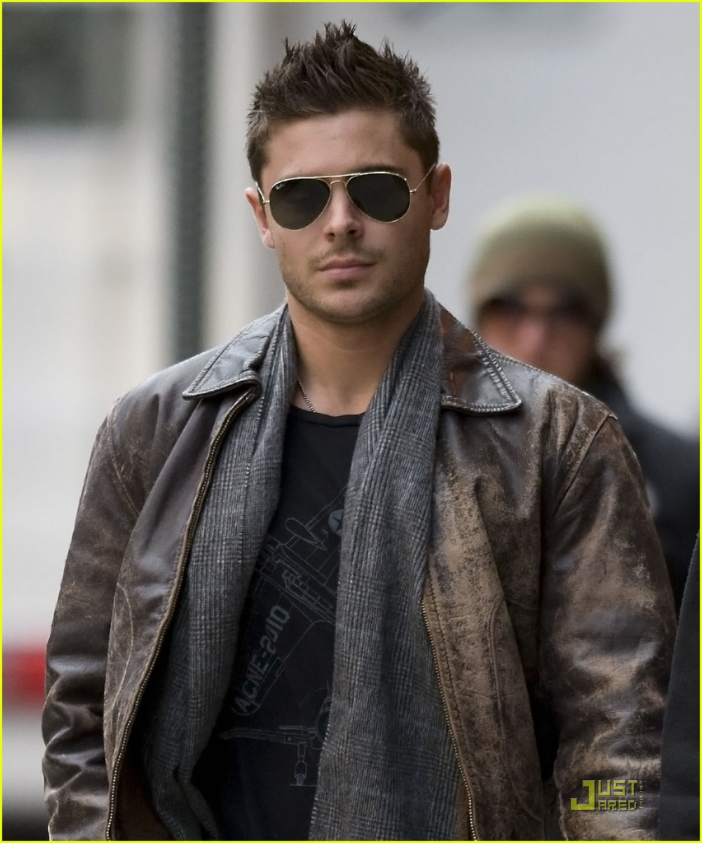 Zac Efron Wearing Leather Jacket On The Set Of New Years