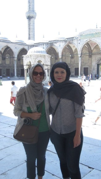 Me & Jenny covered up at Sultanahmet Mosque