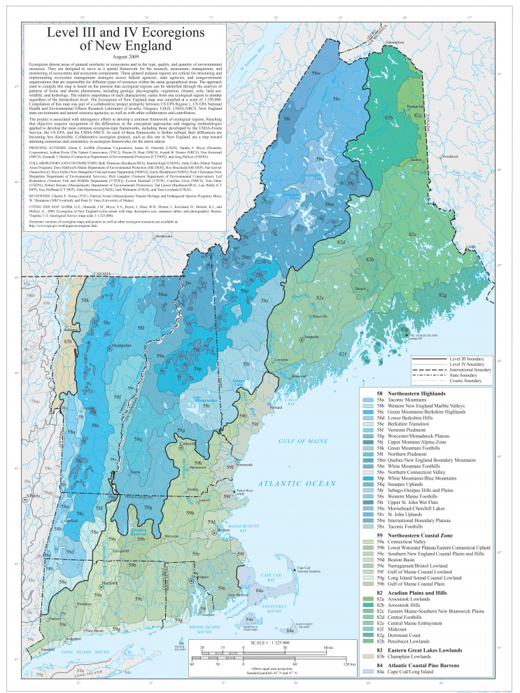 Map of New England Ecoregions