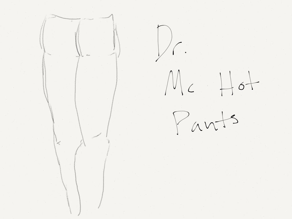 Pants and the Logo text (hand drawn)