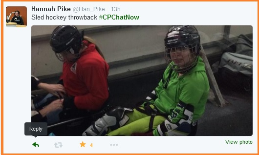 Hannah's sled hockey throwback